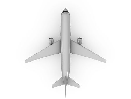 3d image, top view Airplane over white background Stock Photo