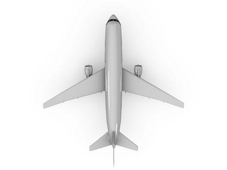 bovenaanzicht mens: 3D image, top zicht vlieg tuig op witte achtergrond