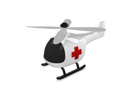3d image, toy helicopter over white background Stock Photo