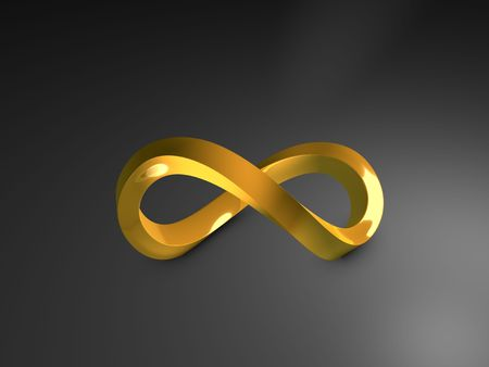 3d image, 3d gold infinity shape, over dark background photo