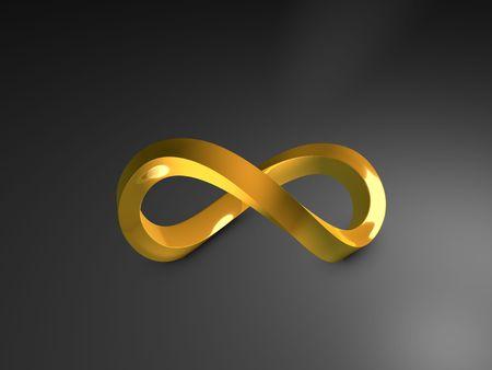 infinito simbolo: Imagen en 3D, 3D forma infinidad de oro, sobre fondo oscuro
