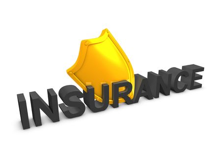 3d image, Shield, insurance protection, over white background