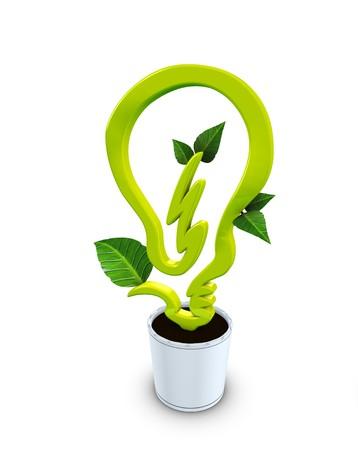 eficiencia energetica: imagen 3D, el concepto de la energ�a limpia, ecol�gico