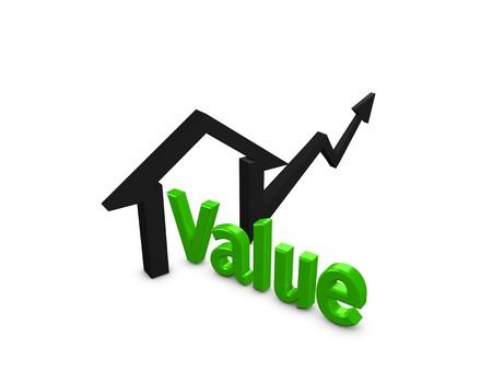 valor: imagen 3D, concepto aumentando el valor de la propiedad, aislado sobre fondo blanco