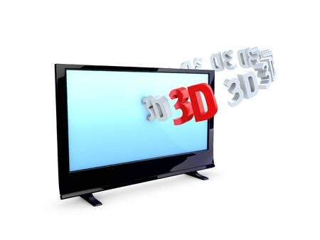 hdtv: 3d image, 3D HDTV isolated over white background