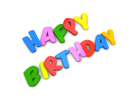 3d Happy birthday text, isolated over white background