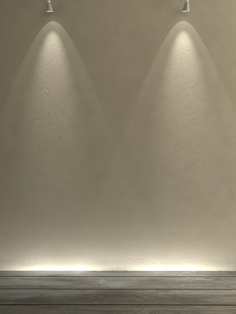 empty simple gallery wall with spot lights Stock Photo