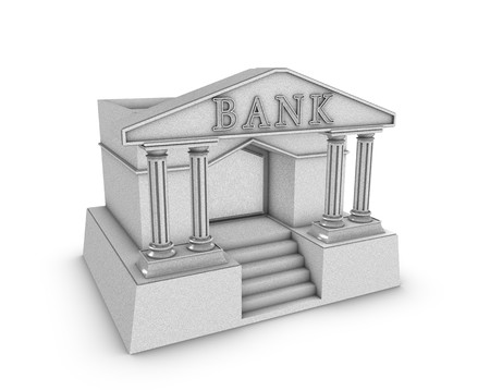 simple bank building in 3d over white background Stock Photo