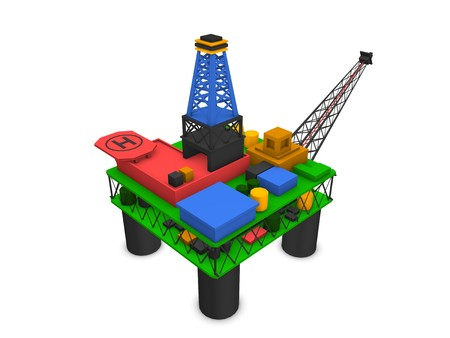broca: plataforma de petrolera costa afuera de procesamiento 3D aislado sobre fondo blanco de plataforma de perforaci�n  Foto de archivo
