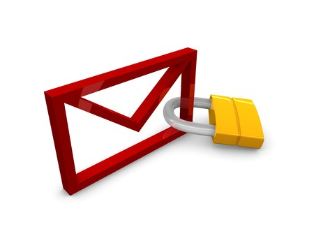 3D rendering, graphic concept email with padlock, isolated over white background. Stock Photo