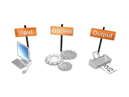 input output: 3d rendering, Work-flows concept; input ,process, output. isolated on white background. Stock Photo