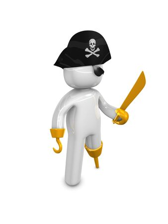 warez: 3d rendering. Pirate captain 3d concept image, isolated on white background.