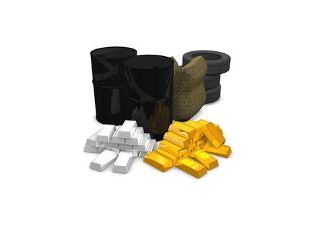 commodities: Los productos b�sicos concepto: aceite, trigo, goma, oro, plata. aislados sobre fondo blanco.