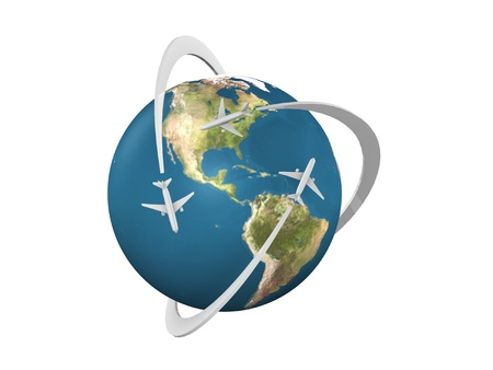 3d concept image World air transportation network, isolated on white background.