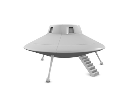 ufo: 3d rendering fictional UFO landing on earth, isolated on white background.