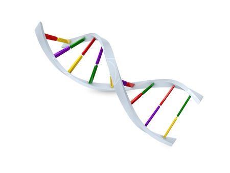 Concept graphic; DNA cell structure, isolated on white background. Stock Photo