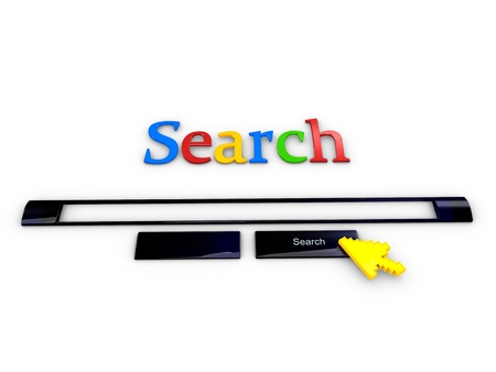 search result: 3d rendering, creative concept Internet search engine, isolated on white background.