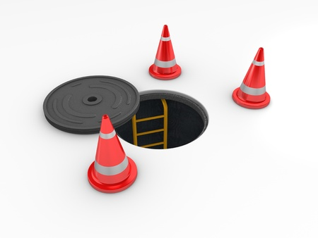 3d rendering, Manhole in-service. isolated on white background. Stock Photo