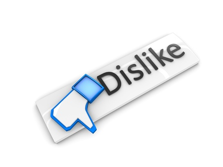 3d rendering; web button Dislike. Isolated on white background. Stock Photo
