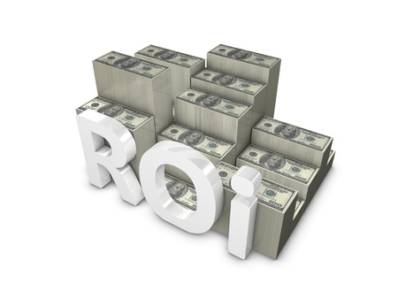 3d rendering, ROI; Return of Investment. isolated on white.