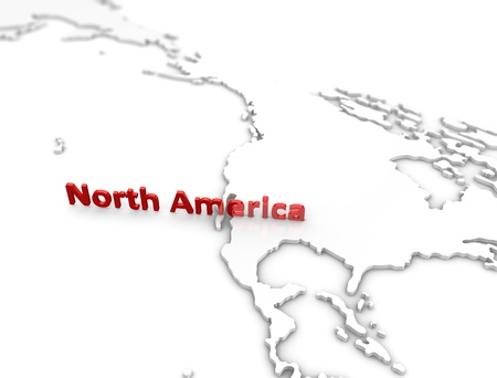 north america: 3d illustration, North America region map. on white.