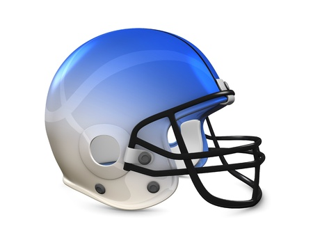 blue helmet: 3d rendering, American football helmet isolated on white background.