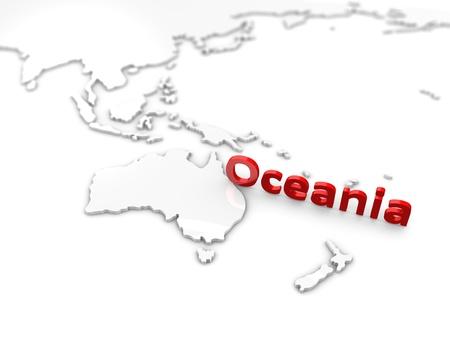 colonisation: rendering 3D, concetto Oceania regione mappa immagine, su bianco.