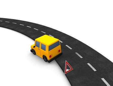 broken car: representaci�n 3D; Coche rota en carretera. Aislados sobre fondo blanco.