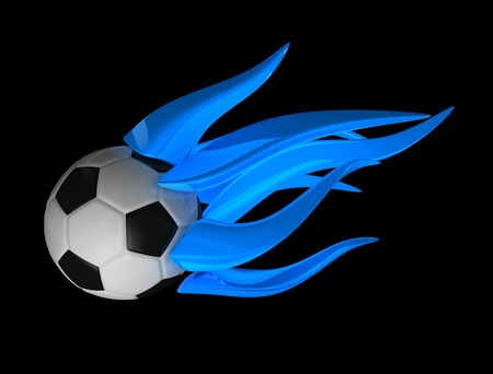 3d rendering; Blue metal flame ball. Isolated on white background.  photo