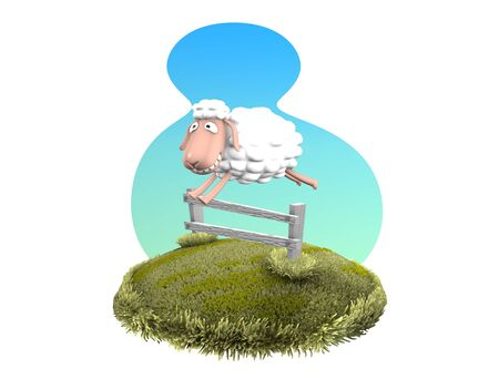 3d rendering, Funny sheep jumping over fence, isolated on white.