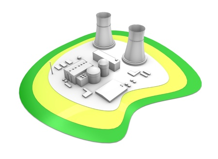 atomic energy: 3d rendering Nuclear power station, isolated on white background. Stock Photo