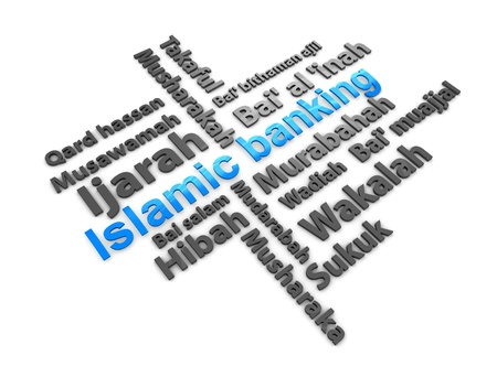 3d rendering, conceptual image, Islamic financial transaction terminology.