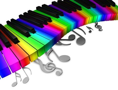 fortepian: 3d rendering, koncepcyjne obraz, kolorowy klawiatura fortepianu. Zdjęcie Seryjne