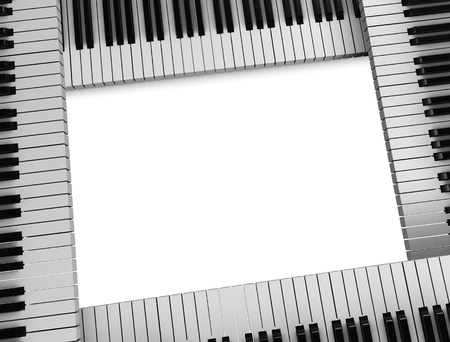 old piano: 3d rendering, conceptual image, Piano keyboard picture frame.