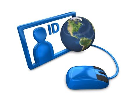 carta identit�: Rendering 3D, Concettuale ID internet illustrazione, isolato su bianco. Archivio Fotografico