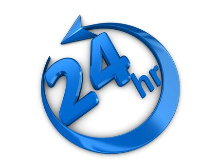 twenty four hours: 3d rendering, isolated on white background, 24 hour service sign.