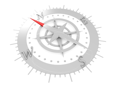 north arrow: 3d rendering, Compass conceptual illustration, isolated on white.