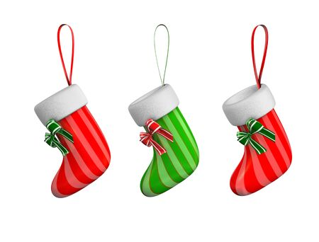 3d rendering, concept illustration of hanging xmas sock, isolated on white.