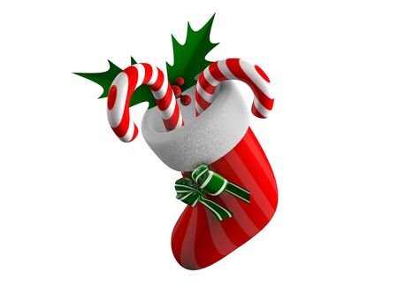 3d rendering, concept illustration of hanging xmas sock, isolated on white. illustration