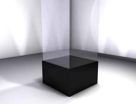 retail display: 3d rendering, Concept display room, empty glass box.
