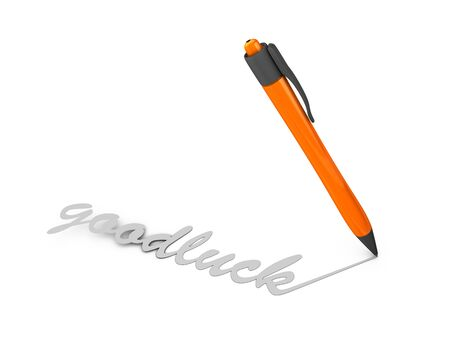 goodluck: Creative concept 3d rendering Good luck, isolated on white.