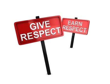 respeto: Renderizado 3d, imagen conceptual, Dale el respeto, hagan el respeto
