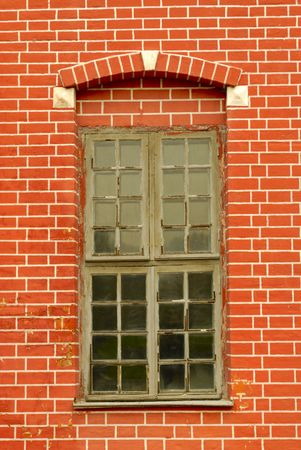 Red old fashioned window