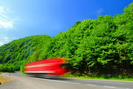 Fast moving heavy truck Stock Photo