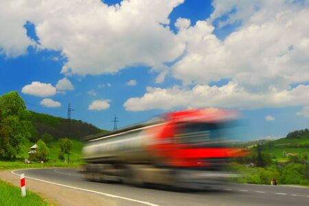 Fast moving go truck Stock Photo