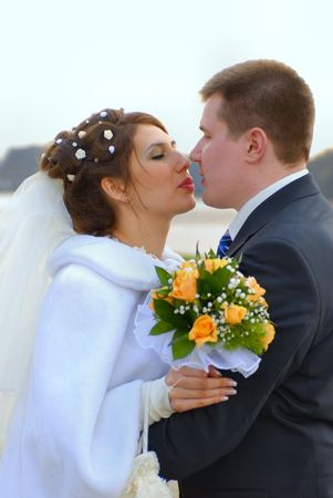 Just married. First kiss Stock Photo