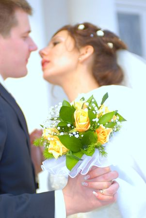 Wedding, first tender kiss