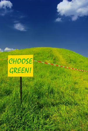 Green hill, blue sky, CHOOSE GREEN plate