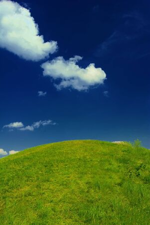 Fresh summer green grass, idyllic hill, deep blue sky