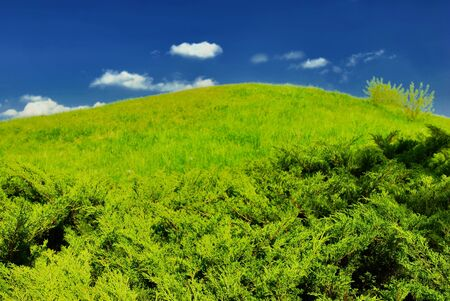 Green hill, blue sky